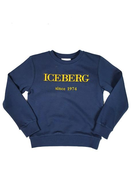 FELPA BASIC BLU CON LOGO RICAMATO FRONTALE iceberg | Felpe | MFICE1100JUNIBLU