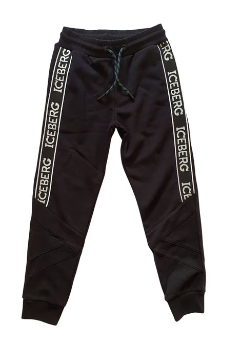 pantaloni in felpa neri bande laterali logate iceberg | Pantaloni | PFICE1104JNERO