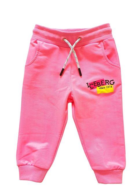 pantaloni in felpa fucsia con laccetto regolabile iceberg | Pantaloni | PFICE1170BFUCSIA