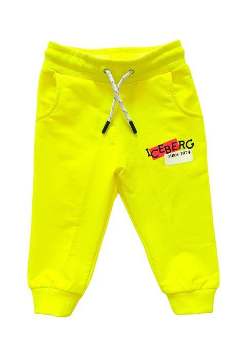 pantaloni in felpa gialli con laccetto regolabile iceberg | Pantaloni | PFICE1170BGIALLO