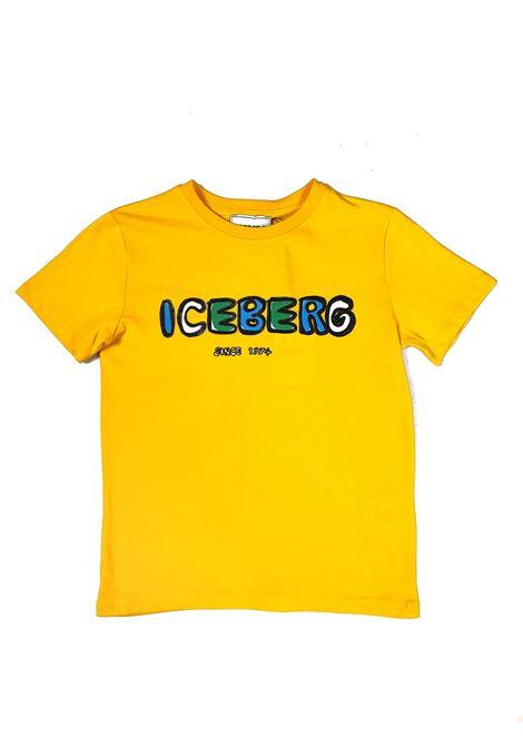 T-SHIRT GIALLA SCRITTA FRONTALE GRASSETTO iceberg | T-shirt | TSICE1100JUNI