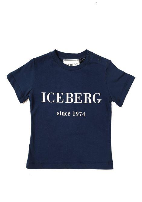 T-SHIRT BASIC SCRITTA FRONTALE BLU iceberg | T-shirt | TSICE1103BUNIBLU
