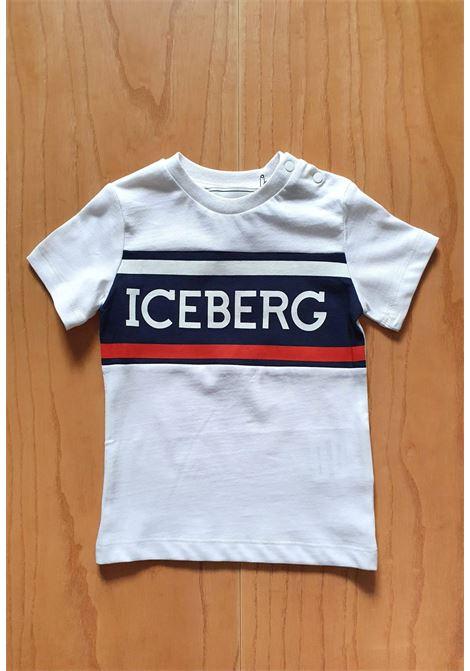 T-SHIRT BIANCA CON STRISCE ROSSE E BLU iceberg | T-shirt | TSICE1105BUNI