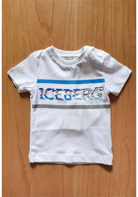 T-SHIRT BIANCA CON LOGO STAMPATO E RICAMATO iceberg | T-shirt | TSICE1112BUNI