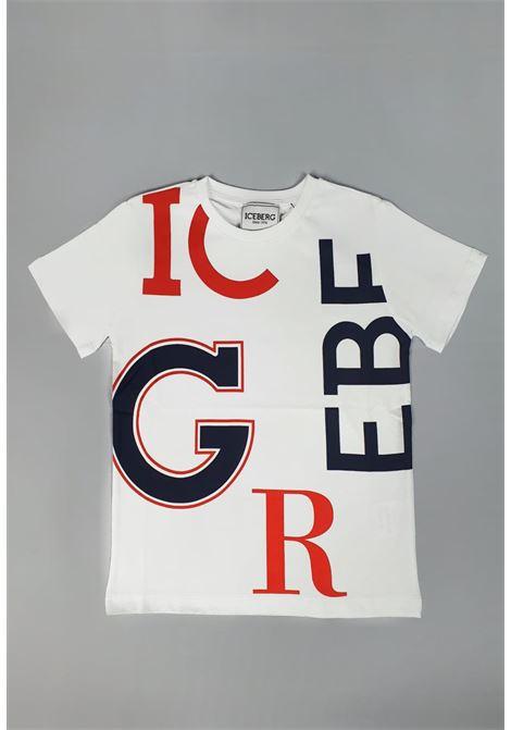 t-shirt girocollo bianca Lettere blu e rosse iceberg | T-shirt | TSICE1118JBIANCO