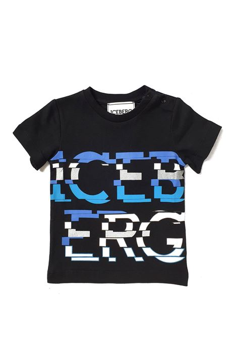 T-SHIRT NERA CON SCRITTA ICEBERG FRONTALE iceberg | T-shirt | TSICE1120BUNI