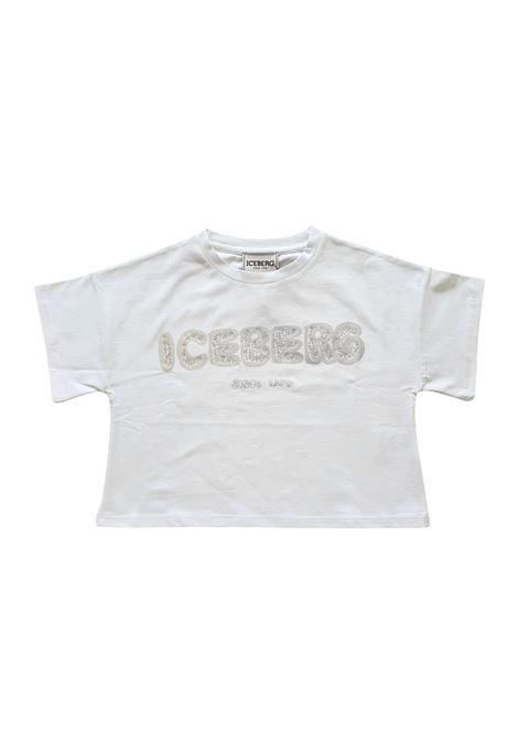 t-shirt in cotone bianca logo frontale argento iceberg | T-shirt | TSICE1156JBIANCO