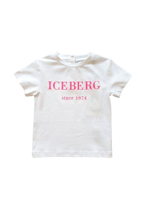 t-shirt in cotone girocollo logo frontale rosa iceberg | T-shirt | TSICE1159BBIANCO