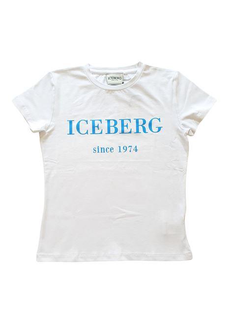 t-shirt in cotone girocollo logo frontale iceberg | T-shirt | TSICE1159JBIANCO AZZURRO
