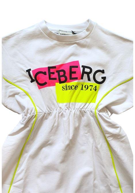 abito in cotone sportivo logo frontale iceberg | Abiti | VSICE1155JBIANCO