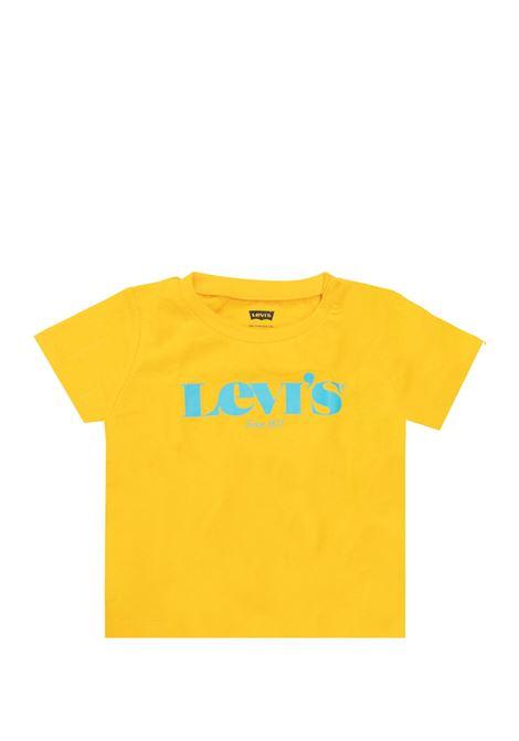t-shirt mezza manica in cotone gialla scritta verde levis | T-shirt | 6EC814UNI