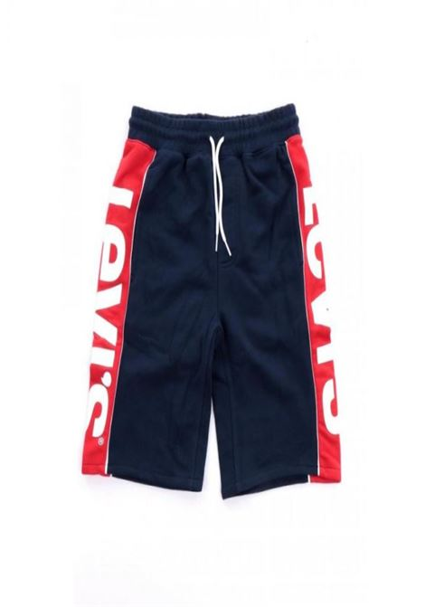 bermuda in felpa blu e rosso con scritte laterali levis | Pantaloni | 9EB159UNI