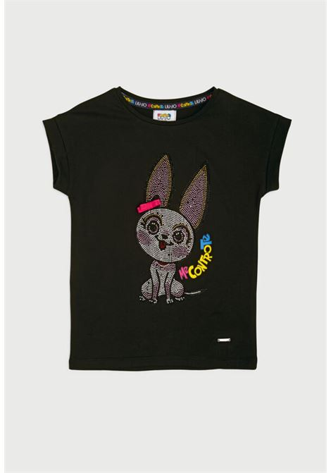 t-shirt in cotone nera asimmetrica con disegno frontale in strass liu jo | T-shirt | 4B1303TX190NERO