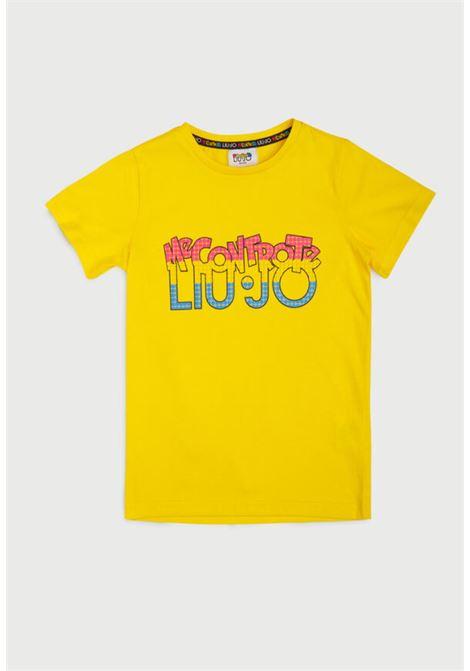 t-shirt gialla in cotone mezza manica MECONTROTE liu jo | T-shirt | 4B1325TX190GIALLO