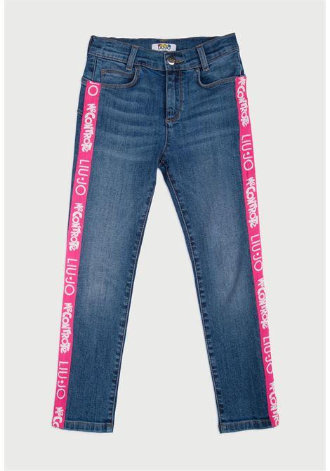 pantalone in jeans con bande laterali rosa logate MECONTROTE liu jo | Pantaloni | 4B1337TX029UNI