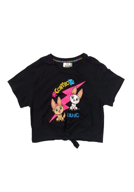 t-shirt in cotone con nodino in vita stampa frontale liu jo | T-shirt | 4B1347TX190NERA