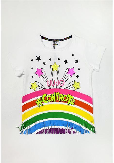 t-shirt bianca in cotone con stampa e frange frontali liu jo   T-shirt   4B1349TX190BIANCA