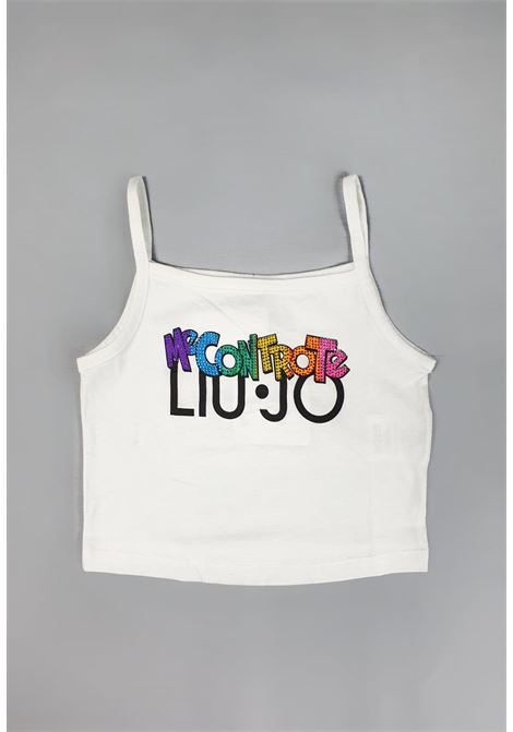 top bianco con spalline stampa frontale mecontrote liu jo | T-shirt | 4B1353TX190BIANCO