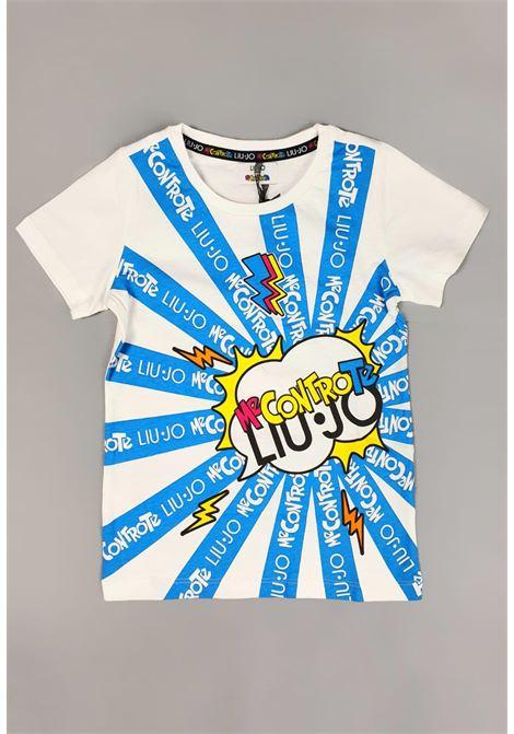 t-shirt bianca con stampa frontale MECONTROTE liu jo | T-shirt | 4B1399TX190UNI
