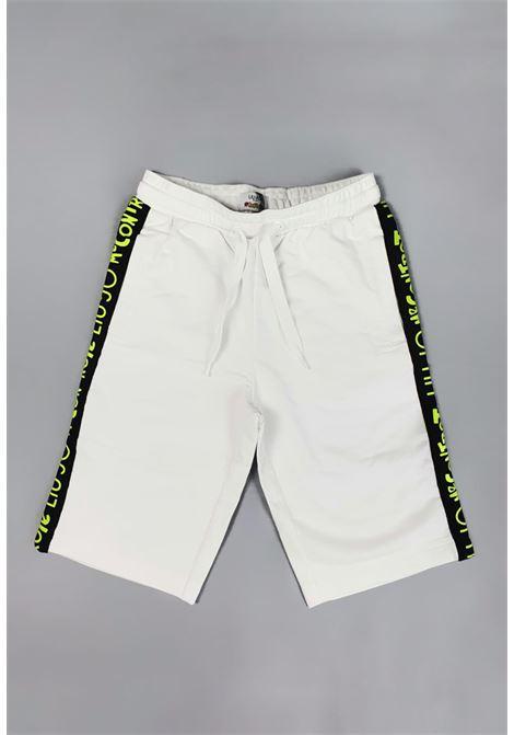 bermuda in felpa bianco con bande laterali logate liu jo | Pantaloni | 4B1419TX190UNI