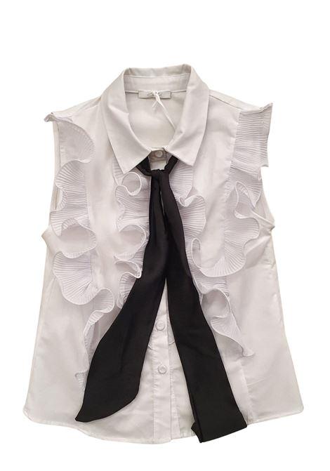 camicia bianca in cotone con rouches frontale LULU | Camicie | LL0270UNI#