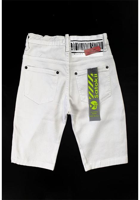 short in denim 5 tasche bianco satokii | Pantaloni | BE ZERO 2BIANCO