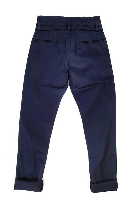 pantaloni blu in cotone con laccio in vita satokii | Pantaloni | PA LACCIOBLU