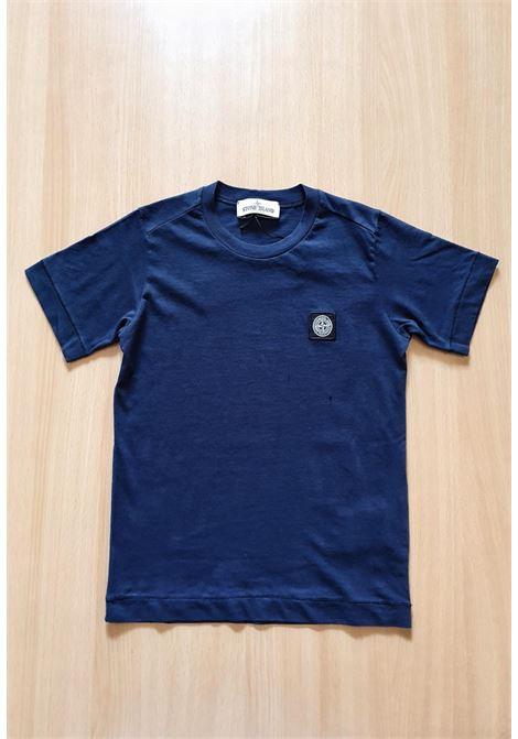 T-SHIRT MEZZA MANICA BLU CON LOGO stone island | T-shirt | 741620147V0028