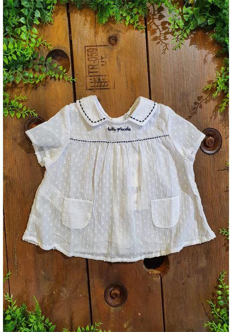 camicia in cotone bianca con trama in rilievo tutto piccolo | Camicie | 1124UNI