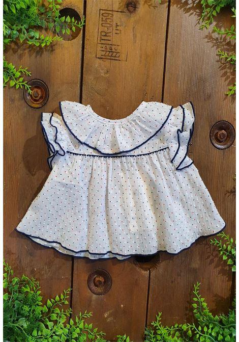 camicia in cotone bianca con pois blu e rossi tutto piccolo | Camicie | 1126UNI
