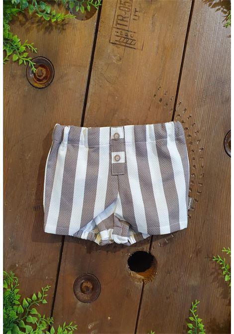 short in cotone bianco e fango righe tutto piccolo | Pantaloni | 1312UNI