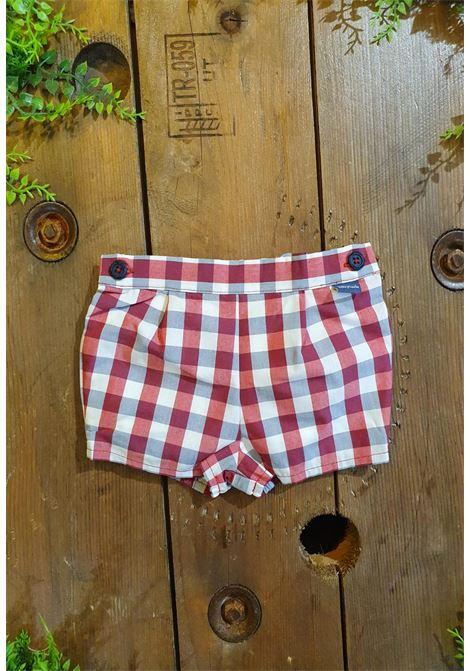 short in cotone fantasia quadri rossa e bianca tutto piccolo | Pantaloni | 1827UNI