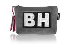 Personalised Grey Velvet Makeup Bag