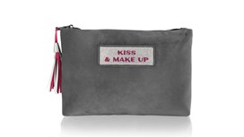 Customised Grey Velvet Beauty Bag