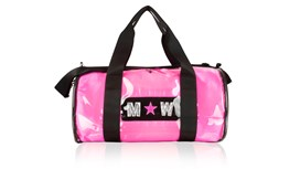PVC Kit Bag With Personalised Neon Pink Satin Liner
