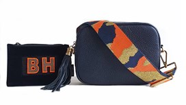 Navy Leather Bag & Strap with Free Personalised Purse