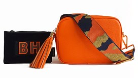 Orange Leather Bag & Strap with Free Personalised Purse