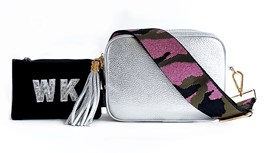 Silver Leather Bag & Strap with Personalised Purse