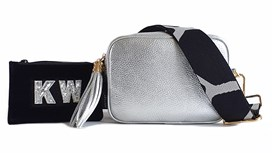 Silver Leather Bag & Strap with Free Personalised Purse