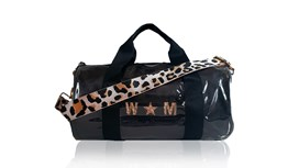 Kit Bag With Black Satin Liner and Pale Pink Leopard Strap