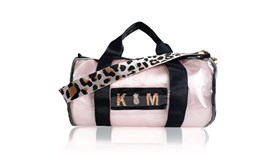 Kit Bag With Pale Pink Satin Liner and Pale Pink Leopard Strap