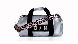 Silver Kit Bag With Pale Pink Leopard Strap