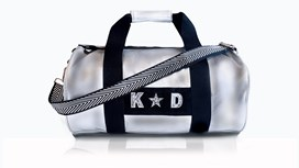 Silver Kit Bag With Black & White Chevron Strap