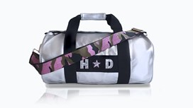 Silver Kit Bag With Pink Camo Strap