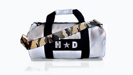 Silver Kit Bag With Green Camo Strap