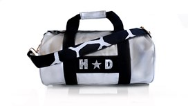 Silver Kit Bag With Black & White Giraffe Strap