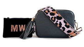 Dark Grey Leather Bag & Strap with Free Personalised Purse