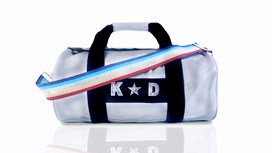 Silver Kit Bag With Rainbow Strap