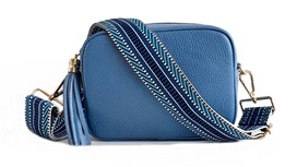 Denim Blue Leather Bag and Strap