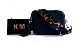 Navy Leather Bag & Strap with Personalised Purse